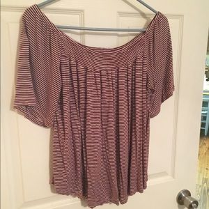 Burgundy/Cream Striped Short Sleeve Blouse